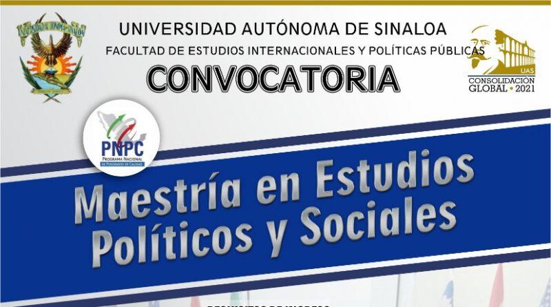 Mantiene la FEIyPP convocatoria abierta para la Maestría en Estudios Políticos y Sociales